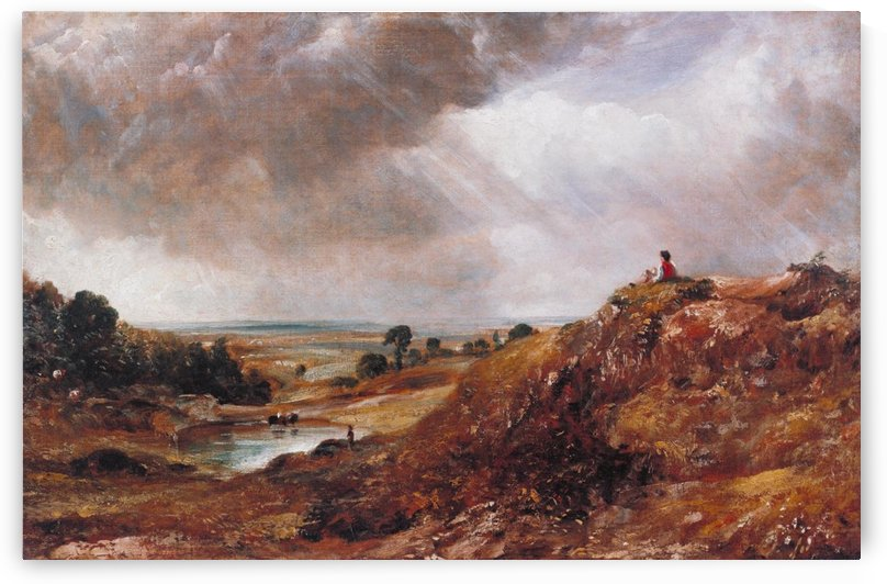 Branch Hill Pond, Hampstead Heath, with a Boy Sitting on by John Constable