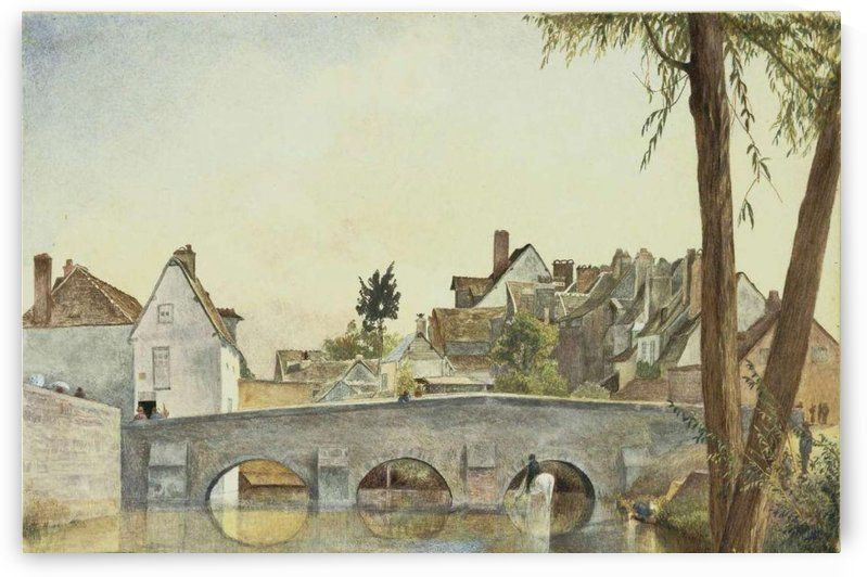 Houses behind a bridge by Henry Roderick Newman