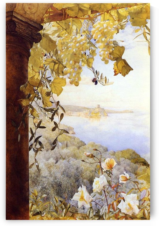 Grapes and flowers by the sea by Henry Roderick Newman