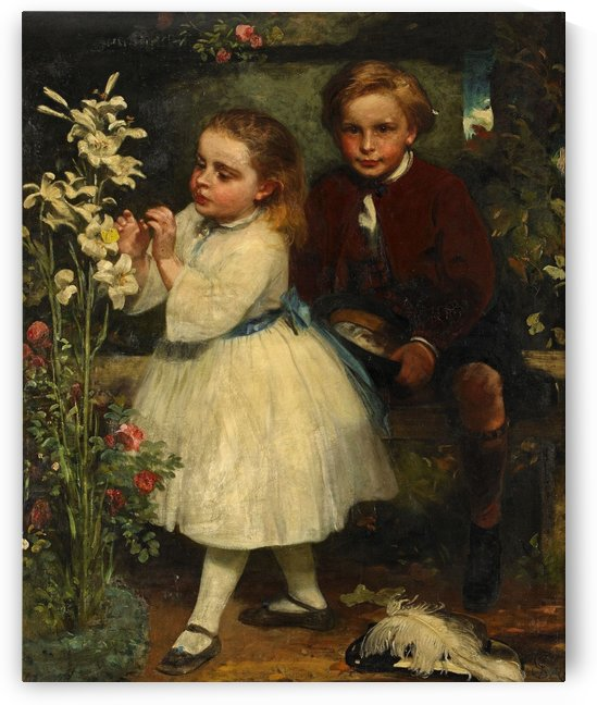 Two children and a white flower by Delapoer Downing