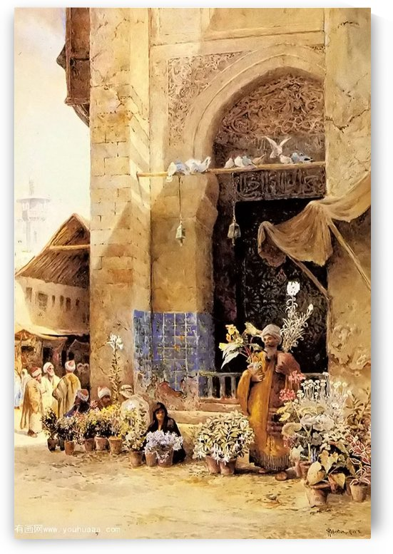 The flower market, Damascus by Charles Robertson
