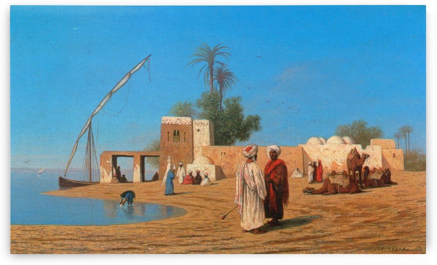 A Village on the Shores of the Nile by Charles-Theodore Frere