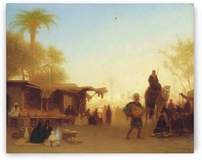 A Cairo bazaar at dusk by Charles-Theodore Frere
