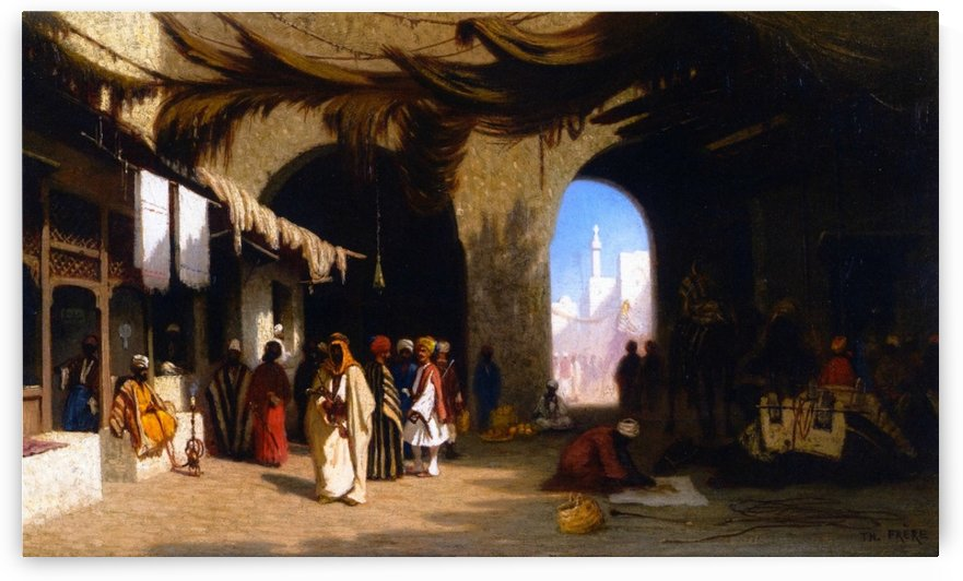 A bazar in Beirut by Charles-Theodore Frere