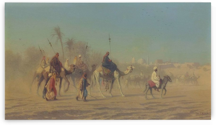 Arab caravan outside city by Charles-Theodore Frere