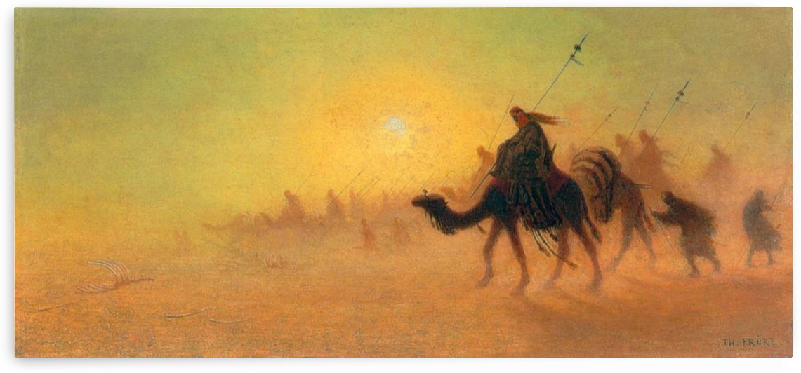 Caravan traveling in the desert by Charles-Theodore Frere