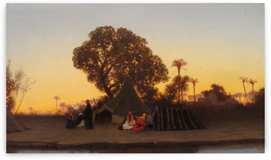 Arab encampment at sunset by Charles-Theodore Frere