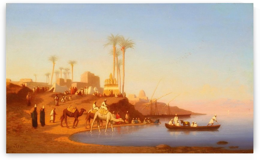 Arab encampment outside city by Charles-Theodore Frere
