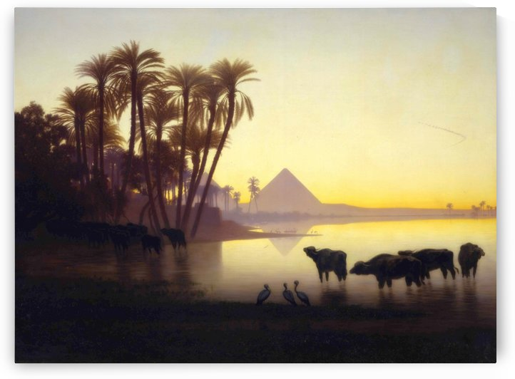 Along the Nile at Giza by Charles-Theodore Frere