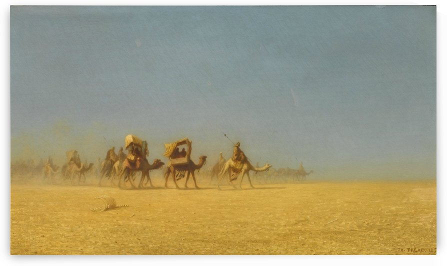 Camel train in the desert by Charles-Theodore Frere