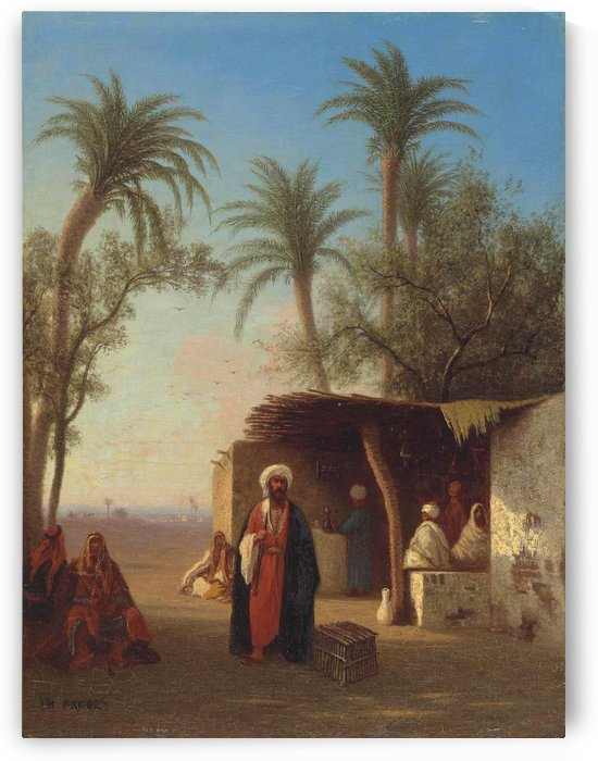 Arab encampment in an oasis nearby by Charles-Theodore Frere