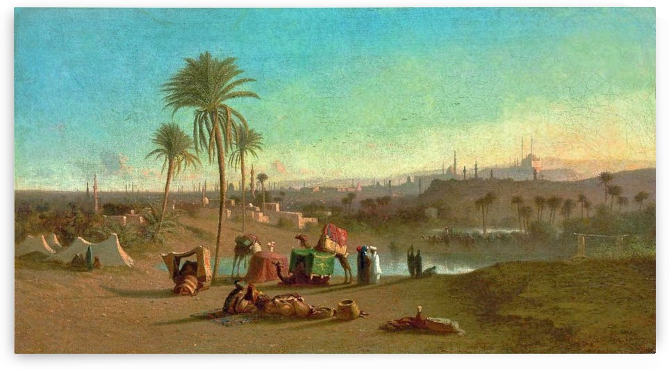 A Camel Train at an Oasis, Cairo Beyond 1853 by Charles-Theodore Frere