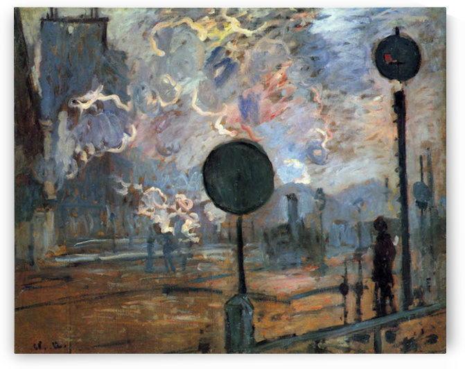 Outside the station Saint-Lazare, The signal by Monet by Monet
