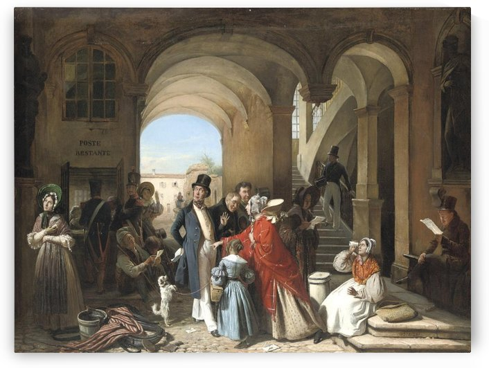 At the Post Office by Francois-Auguste Biard