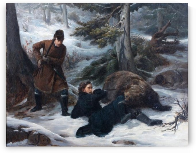Hunting a bear by Francois-Auguste Biard