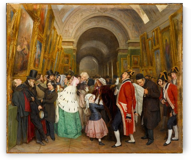 A gathering at the museum by Francois-Auguste Biard