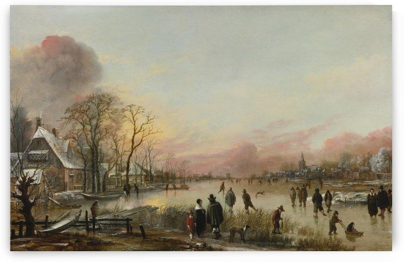 People over the frozen river by Aert van der Neer