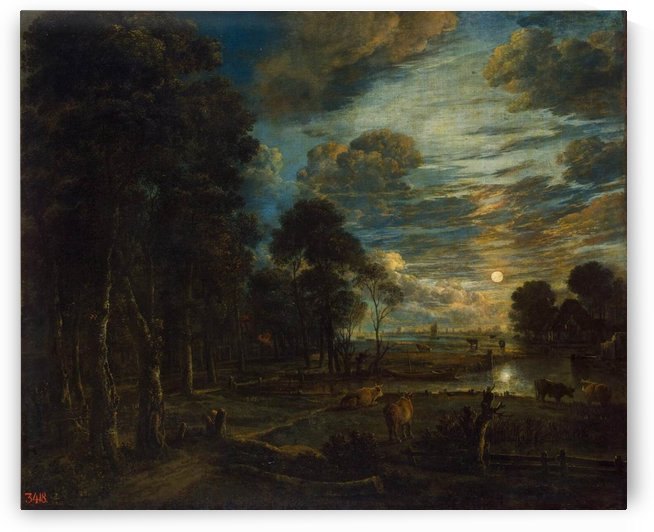 Cattle in the night time by Aert van der Neer