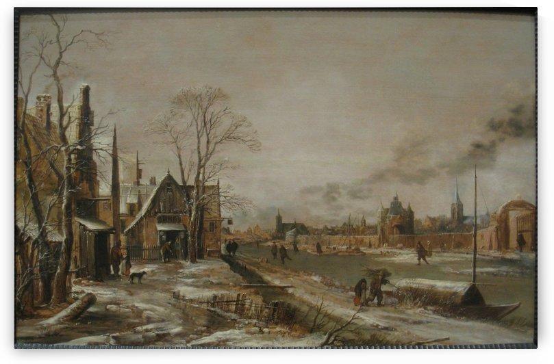 A frozen river by Aert van der Neer
