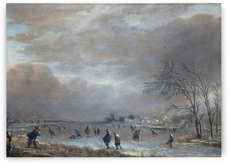 Landscape with Skaters on a Frozen River by Aert van der Neer