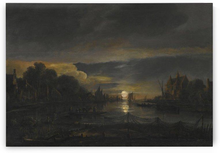 A city in the night by Aert van der Neer