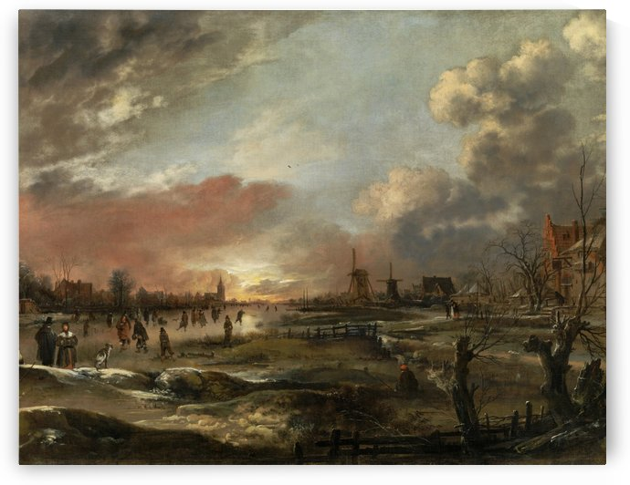 Winter Landscape with Skaters at Sunset by Aert van der Neer