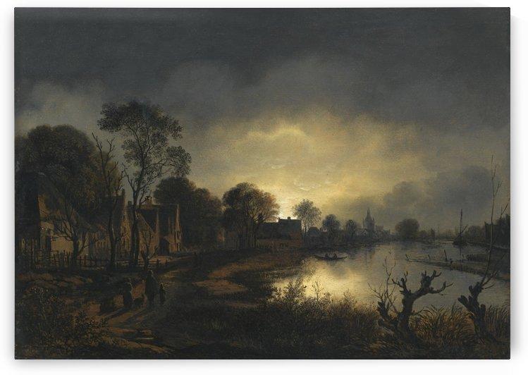 Houses by the river by Aert van der Neer