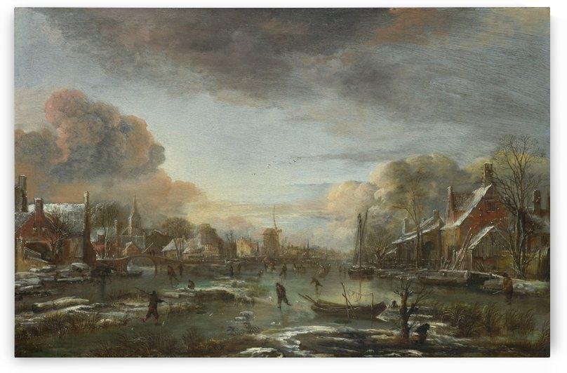 A Frozen River by a Town at Evening by Aert van der Neer