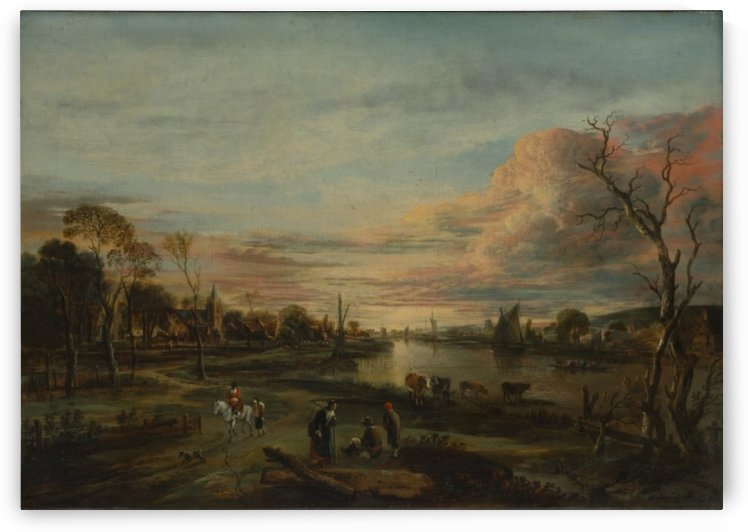 Landscape with people in the evening by Aert van der Neer