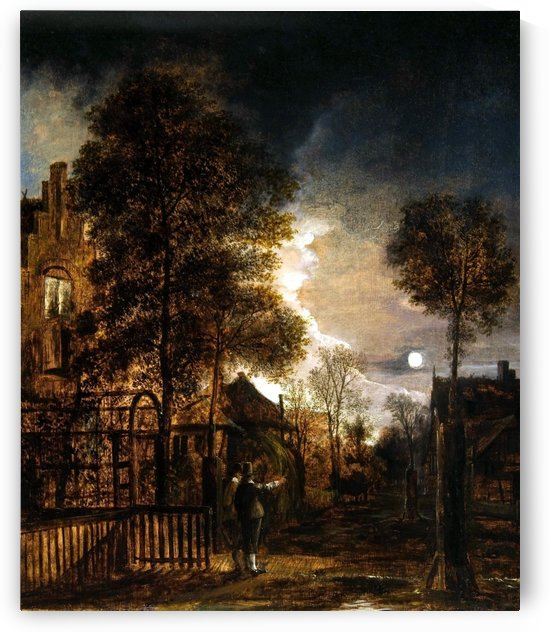 Two figures conversing in the moonlight by Aert van der Neer