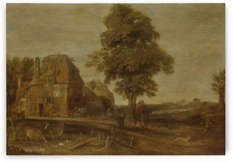 Landscape with stopping by Aert van der Neer