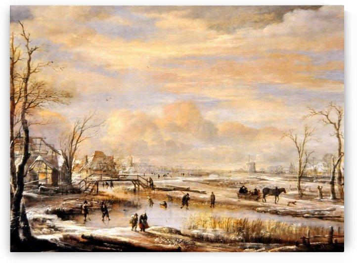 Frozen River with a Footbridge by Aert van der Neer