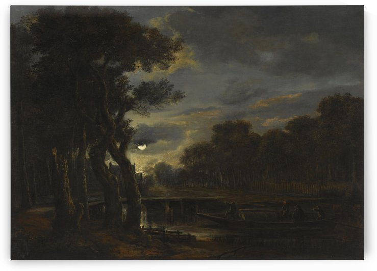 People on the boat in monlight by Aert van der Neer