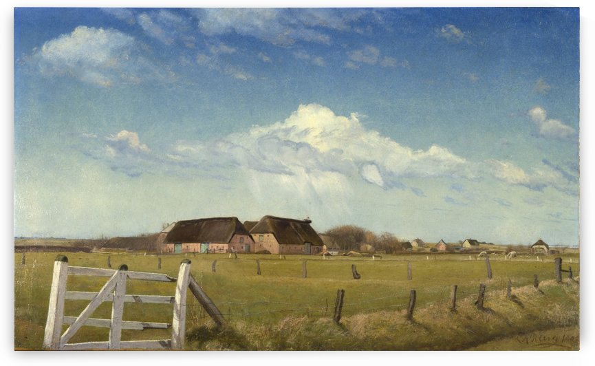 enced-in Pastures by a Farm by Laurits Andersen Ring