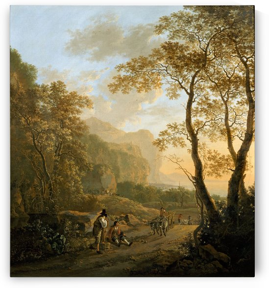 Landscape with resting travellers and oxcart by Jan de Beijer