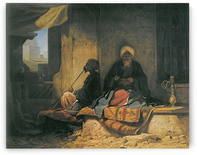 Two Turkish men in a cofee house by Carl Haag