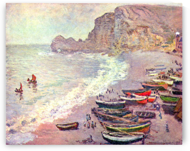 Etretat, the beach and La Porte dAmont by Monet by Monet