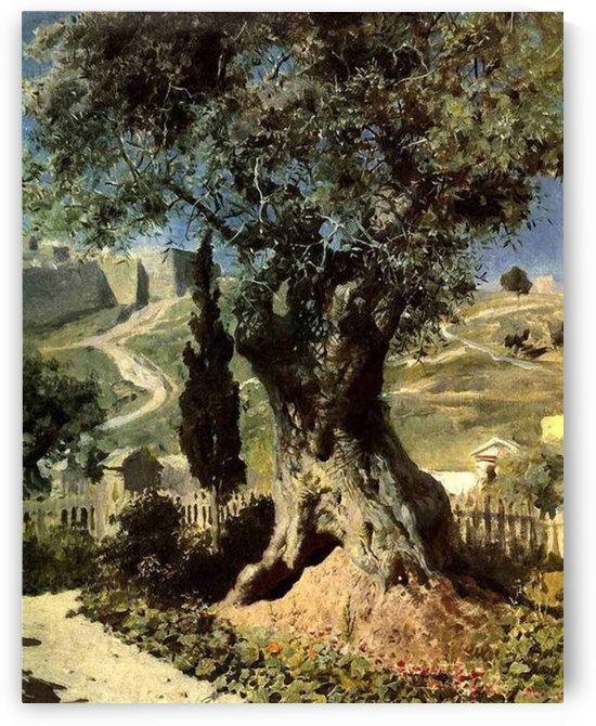 A big tree in front of the village by Vasily Dmitrievich Polenov