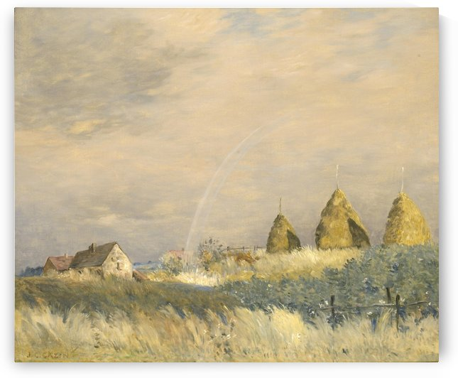 Landscape with a Rainbow and Haystacks by Jean-Charles Cazin