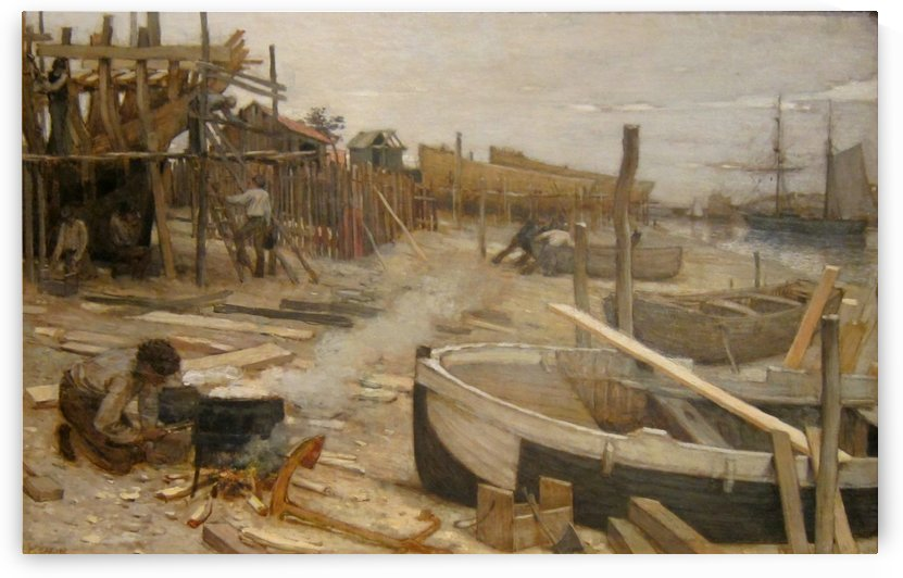 The boatyard by Jean-Charles Cazin