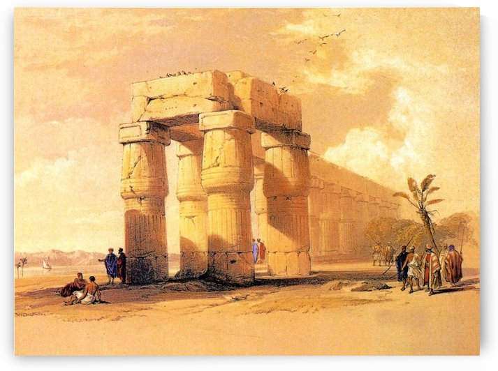 Egyptian ruines with figures by David Roberts