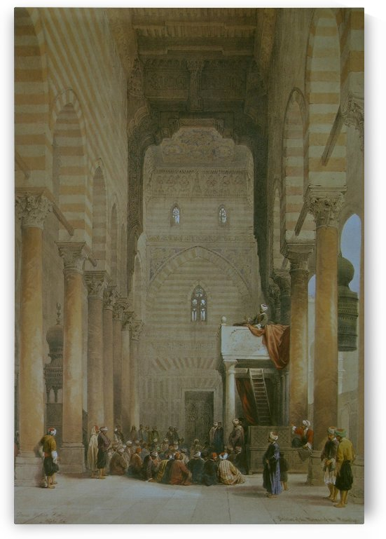 Oriental figures inside a mosque by David Roberts