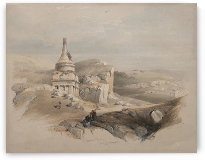 1839 Absalom's Pillar, Valley of Jehoshaphat by David Roberts