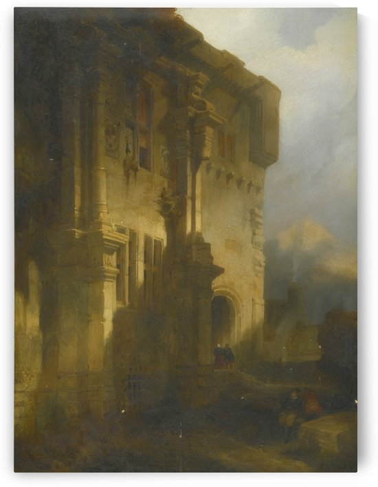 Part of the South Front of the courtyard of Falkland Palace by David Roberts