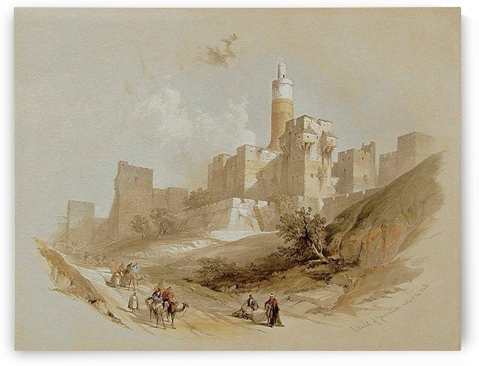 1839 Citadel of Jerusalem, without the Walls, Tower of David by David Roberts