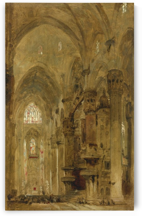 Sketch of the interior of the Duomo, Milan by David Roberts