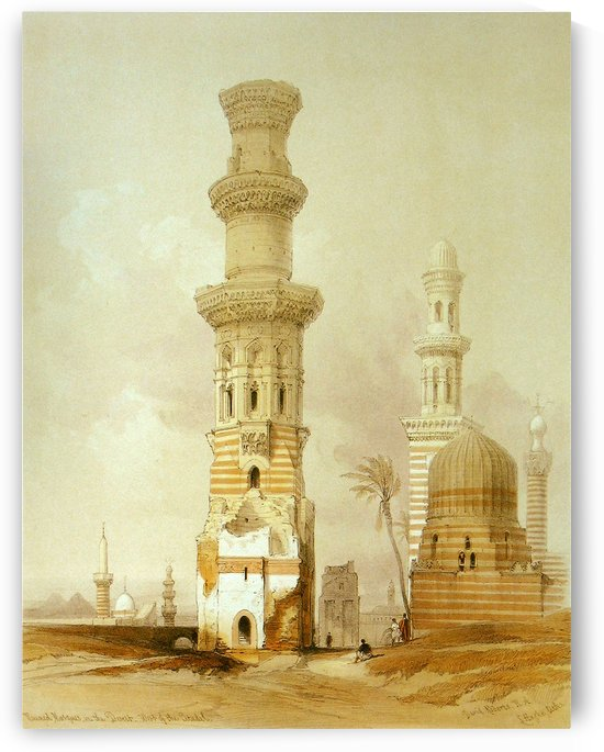 Ruined mosques in the desert, west of the citadel by David Roberts