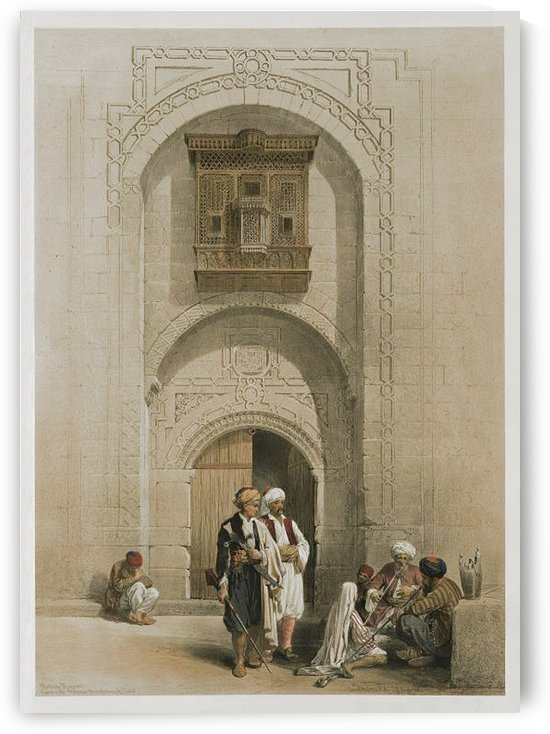Oriental figures in front of an mosque by David Roberts