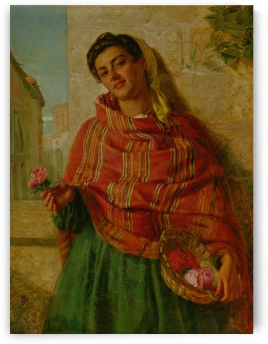 Young beauty holding a rose by John Bagnold Burgess