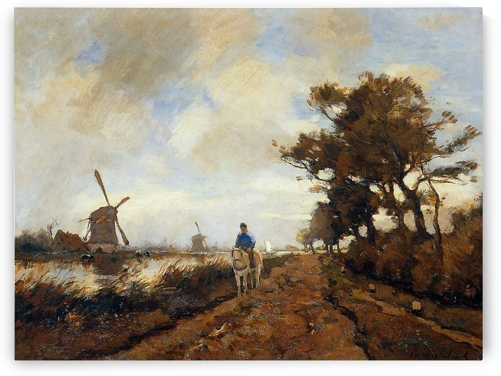 Horseman on a tow path by Jan Hendrik Weissenbruch